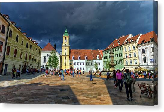 Main Square In The Old Town Of Bratislava, Slovakia Canvas Print