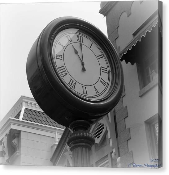 Main Street Clock Canvas Print