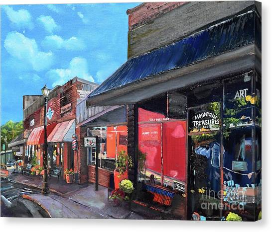 Canvas Print featuring the painting Main Street Ellijay - Mountain Treasures - On The Square by Jan Dappen