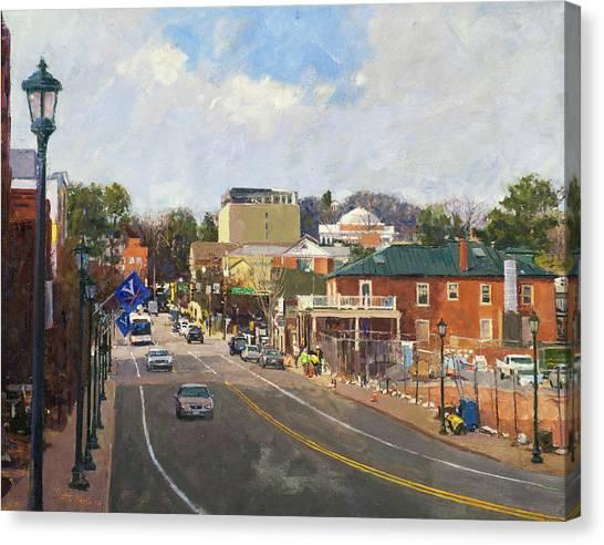 University Of Virginia Canvas Print - Main Street Looking Toward The Rotunda by Edward Thomas