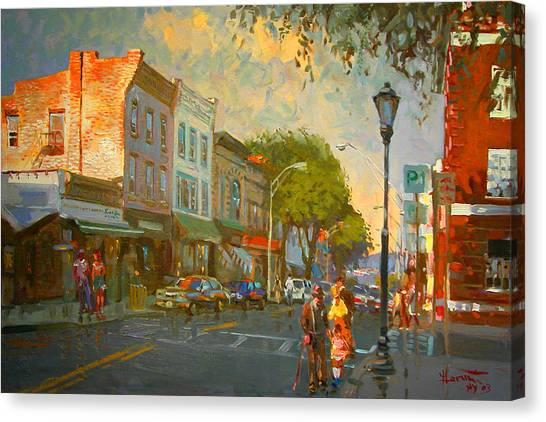 Bars Canvas Print - Main Street Nyack Ny  by Ylli Haruni