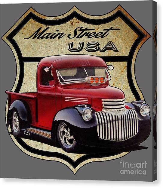 Rusty Truck Canvas Print - Main Street, Usa Pickup by Paul Kuras