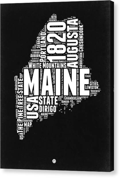 Maine Canvas Print - Maine Black And White Map by Naxart Studio