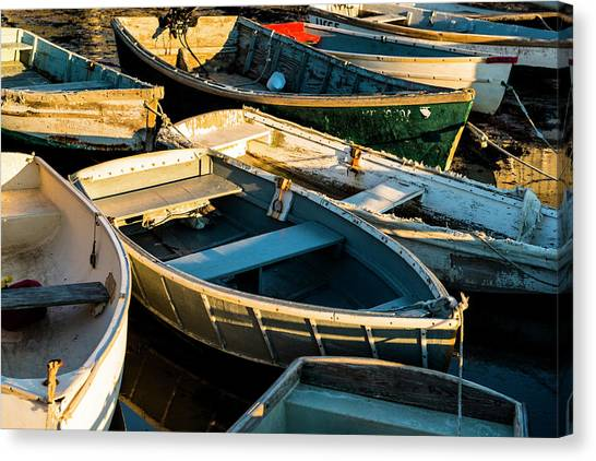 Maine Boats At Sunset Canvas Print