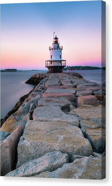 Maine Coastal Sunset Over The Spring Breakwater Lighthouse Canvas Print
