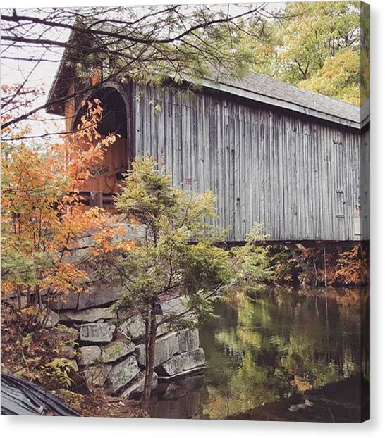 Maine Canvas Print - Fall Colors Over The Babs Covered Bridge by Jeff Foliage