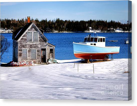 Maine Winter Canvas Print - Maine Harbor Winter Scene by Olivier Le Queinec