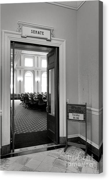 Capitol Building Canvas Print - Maine Senate Chamber Doorway by Olivier Le Queinec
