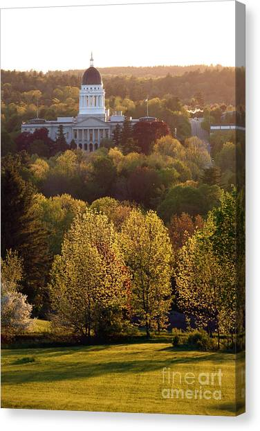 Augusta Canvas Print - Maine State Capitol At Sunset by Olivier Le Queinec