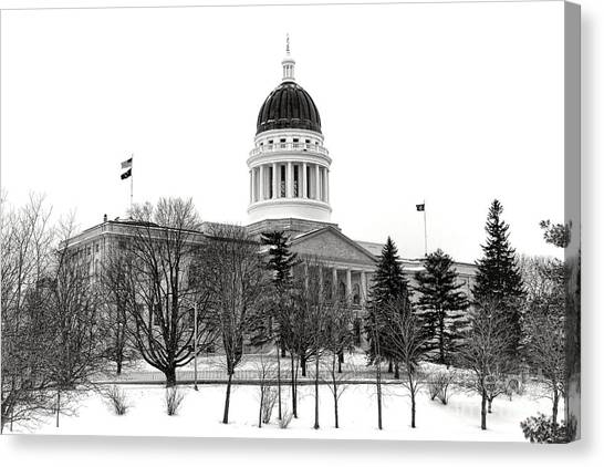 Capitol Building Canvas Print - Maine State Capitol In Winter by Olivier Le Queinec