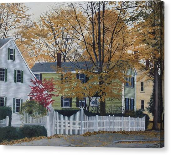 Autumn Day On Maine Street, Kennebunkport Canvas Print