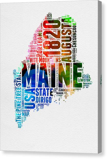 Maine Canvas Print - Maine Watercolor Word Cloud  by Naxart Studio