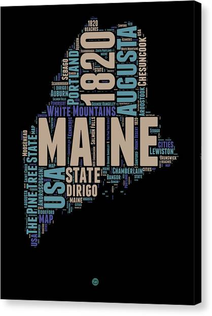 4th Of July Canvas Print - Maine Word Cloud 1 by Naxart Studio