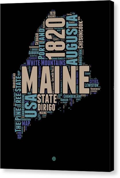 America Map Canvas Print - Maine Word Cloud 1 by Naxart Studio