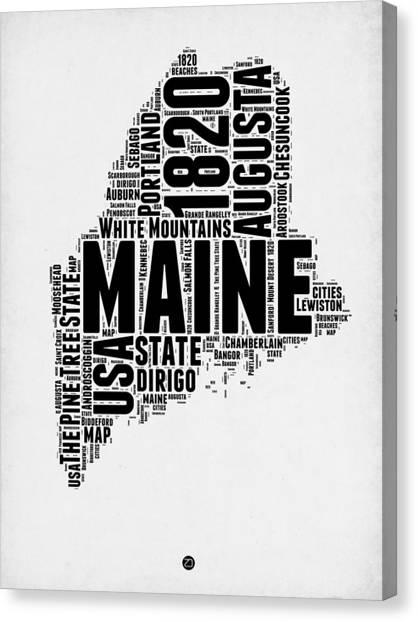 America Map Canvas Print - Maine Word Cloud 2 by Naxart Studio