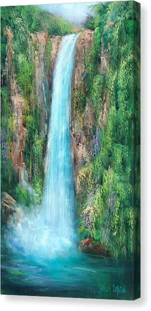Majestic Falls Canvas Print by Sally Seago