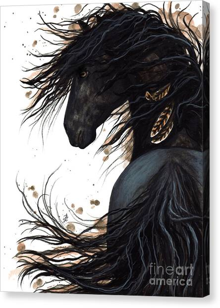Black Stallion Canvas Print - Majestic Friesian 143 by AmyLyn Bihrle