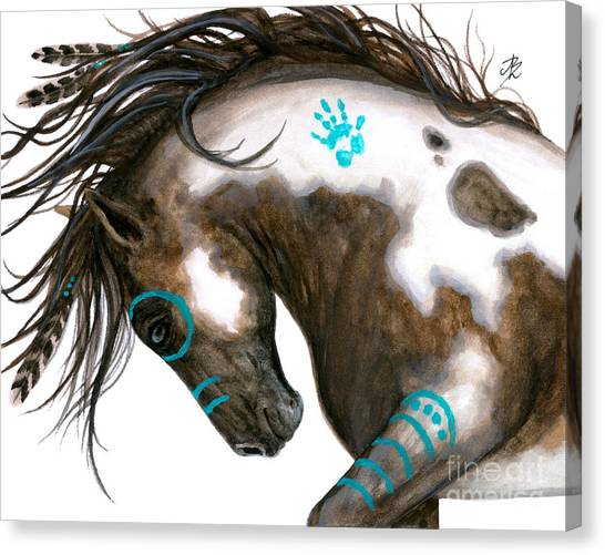 Native American War Horse Canvas Print - Majestic Horse #151 by AmyLyn Bihrle