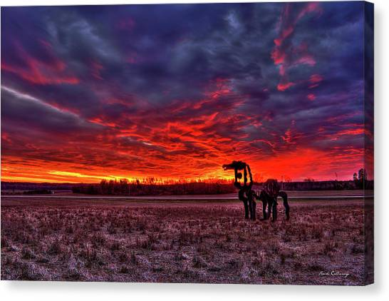 University Of Georgia Canvas Print - Majestic Red Clouds Winter Sunset The Iron Horse Art by Reid Callaway