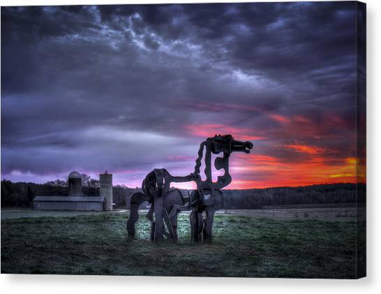 University Of Georgia Canvas Print - Majestic Sunrise The Iron Horse by Reid Callaway