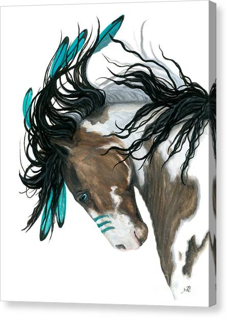 Native Americans Canvas Print - Majestic Turquoise Horse by AmyLyn Bihrle