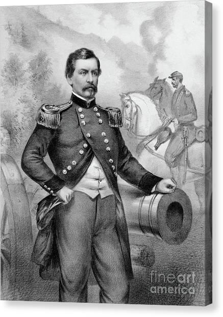 Army Of The Potomac Canvas Print - Major General George B Mcclellan by American School