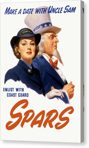Coast Guard Canvas Print - Make A Date With Uncle Sam by War Is Hell Store