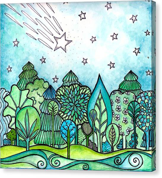Shooting Stars Canvas Print - Make A Wish by Robin Mead
