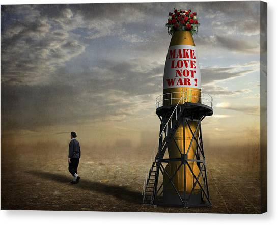 Rocket Canvas Print - Make Love, Not War ! by Ben Goossens