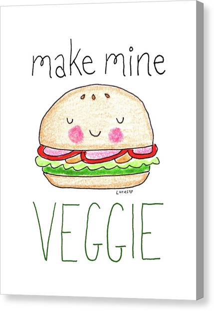 Vegetarian Canvas Print - Make Mine Veggie by Ashley Lucas