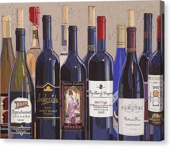 Wine Art Canvas Print - Make Mine Virginia Wine Number One by Christopher Mize