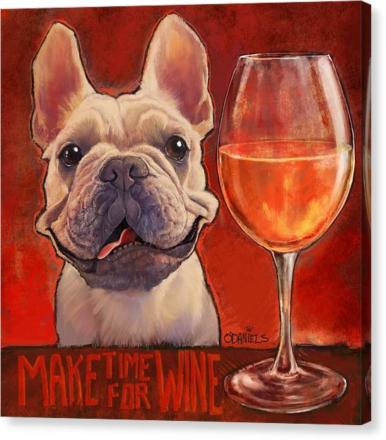 Terrier Canvas Print - Make Time For Wine by Sean ODaniels