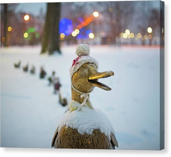 Make Way For Ducklings Winter Hats Boston Public Garden Christmas Canvas Print