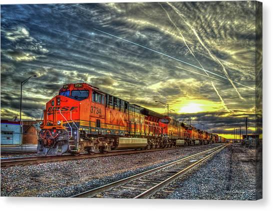 Make Way Resting B N S F Train Gallup New Mexico Art Canvas Print