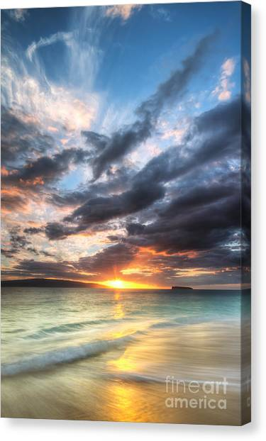 Hawaii Canvas Print - Makena Beach Maui Hawaii Sunset by Dustin K Ryan