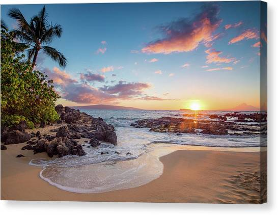 Beach Sunsets Canvas Print - Makena Cove by Drew Sulock