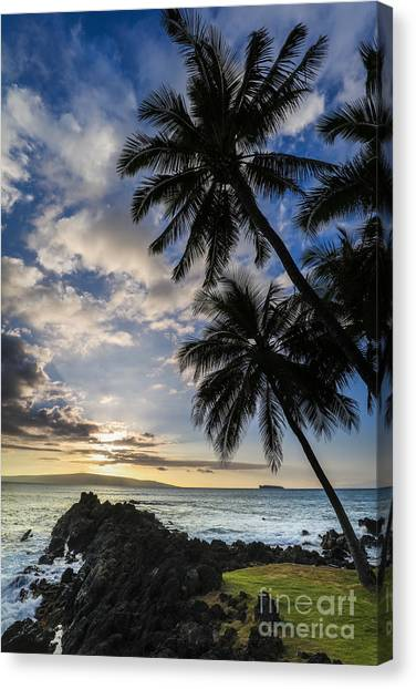 Palm Trees Sunsets Canvas Print - Makena Maui Hawaii Sunset by Dustin K Ryan