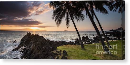 Palm Trees Sunsets Canvas Print - Makena Sunset Maui Hawaii by Dustin K Ryan