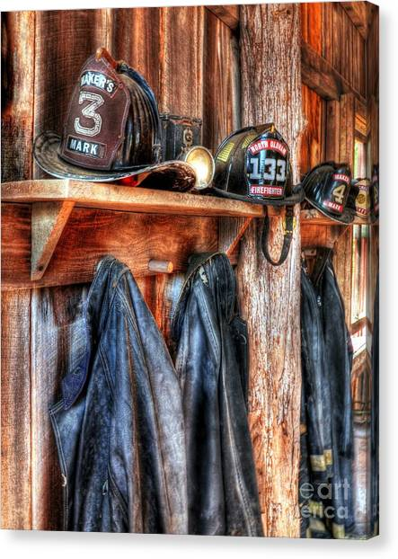 Protective Clothing Canvas Print - Maker's Mark Firehouse by Mel Steinhauer