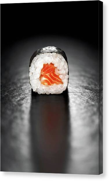 Salmon Canvas Print - Maki Sushi Roll With Salmon by Johan Swanepoel