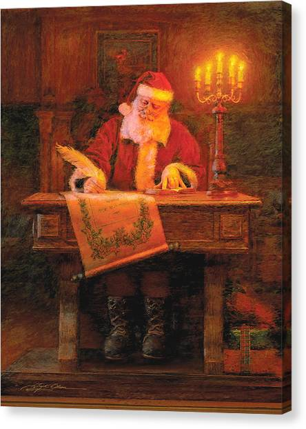 Christmas Art Canvas Print - Making A List by Greg Olsen