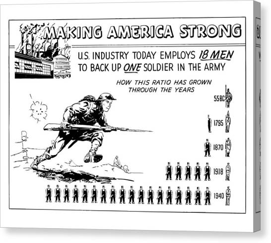 Soldiers Canvas Print - Making America Strong Cartoon by War Is Hell Store