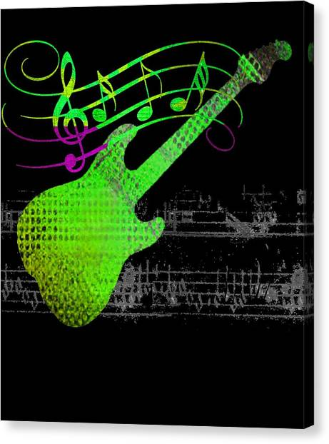 Canvas Print featuring the digital art Making Music by Guitar Wacky