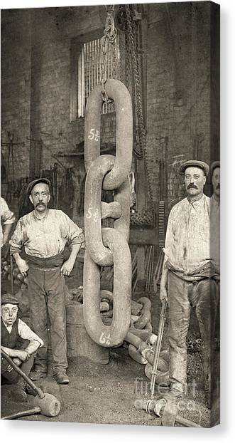 Chain Link Canvas Print - Making The Titanic's Anchor Chain At Hingley And Sons by English School