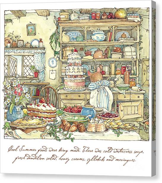 Cakes Canvas Print - Making The Wedding Cake by Brambly Hedge