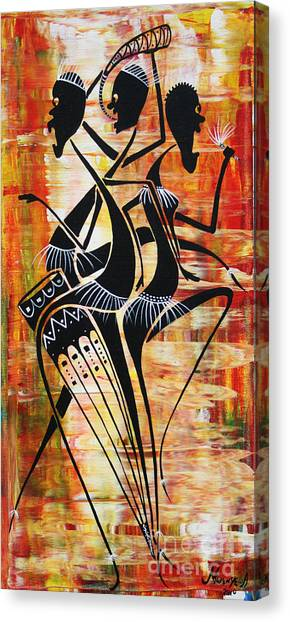 Makonde And Mask 5 Canvas Print by Abu Artist