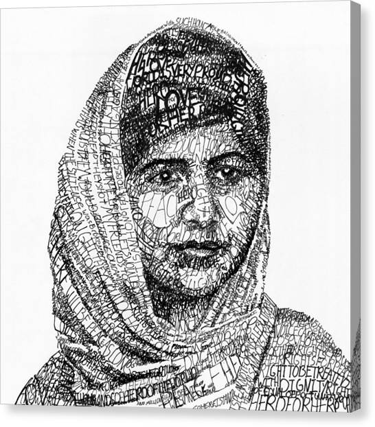 Woman Canvas Print - Malala Yousafzai by Michael Volpicelli