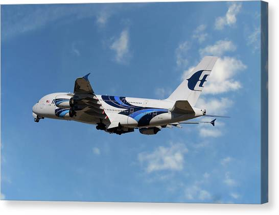 Airlines Canvas Print - Malaysia Airlines Airbus A380-841 by Smart Aviation