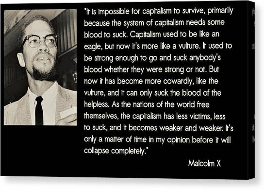 Malcolm X  On Capitalism And Vultures Canvas Print