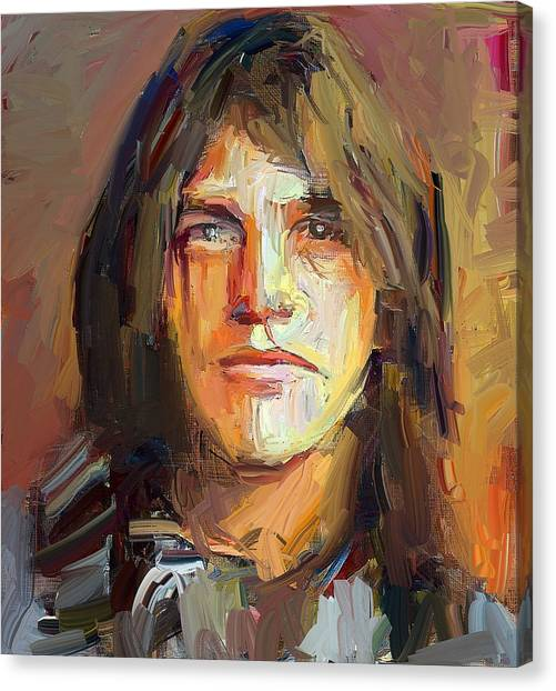 Indoors Canvas Print - Malcolm Young Acdc Tribute Portrait by Yury Malkov